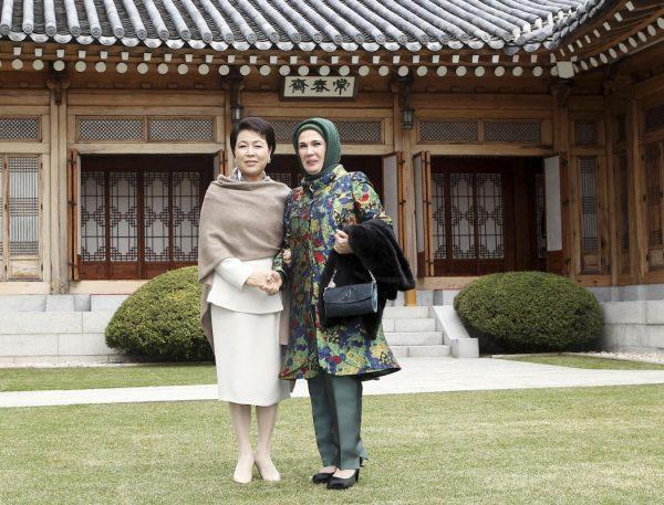 South Korea's Kim Yoon-ok and Turkey's First Lady.