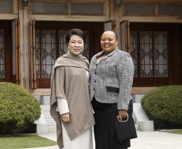 South Korea's Kim Yoon-ok and South Africa's First Lady