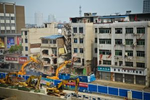The scene at the forced demolition.