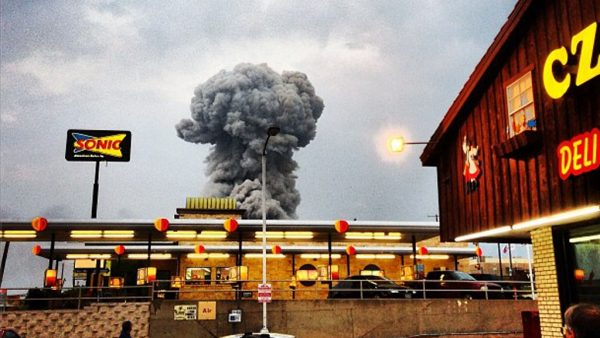 A massive mushroom cloud over the site of a fertilizer plant explosion in Texas.