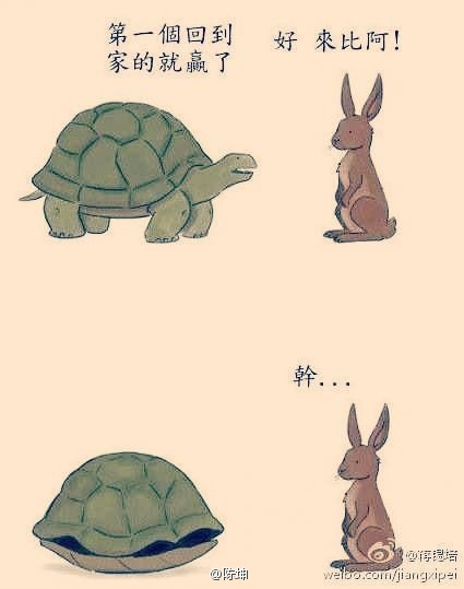 Chinese cartoon of tortoise and hare racing home.