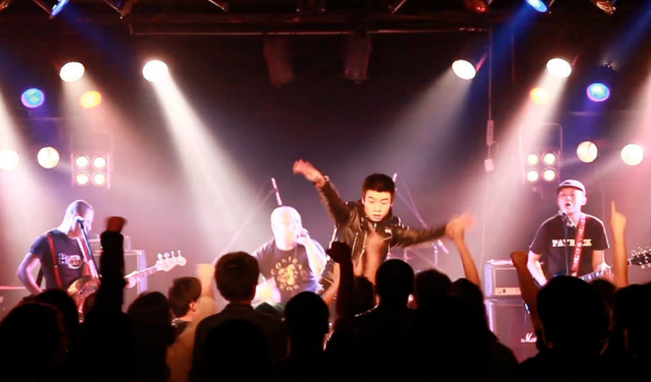 Chinese punk band on stage.