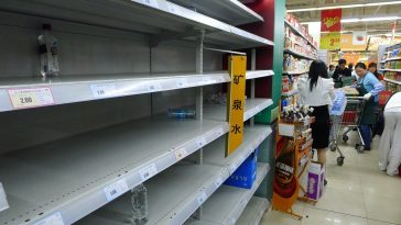 The shelves for drinking water were empty.