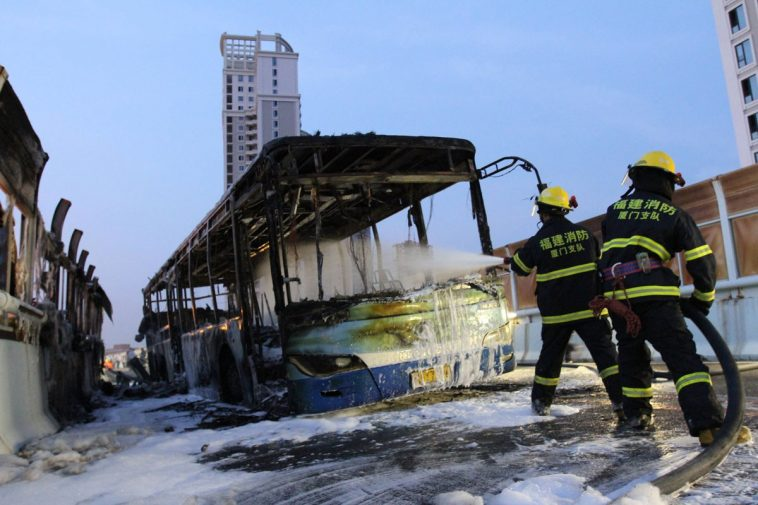 Xiamen public bus fire extinguished.