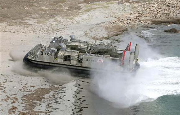 Japanese hovercraft assault landing at the beach in the island seizing exercise.