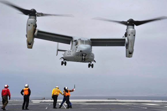 American tilt-rotor V-22 Osprey joining in the military exercise.