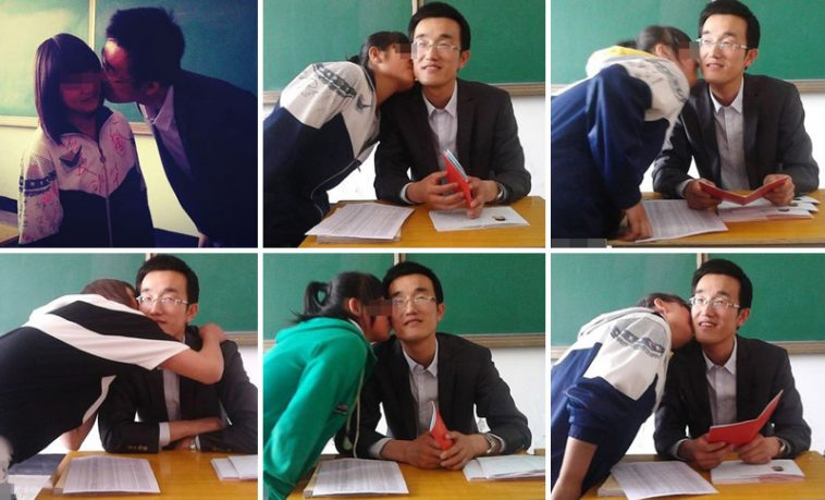 Female students are kissing the teacher.