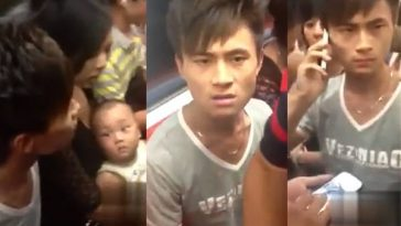 Video of a fight between a young man and Shanghai Metro passengers after his child peed in the subway.