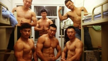 Dalian Maritime University dorm room Chinese muscle men roommates.