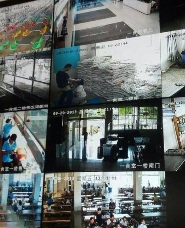 Jiangnan University cafeteria workers caught engaging in oral sex in the a storeroom by surveillance cameras and broadcasted live to wall of TV monitors in main student dining hall.