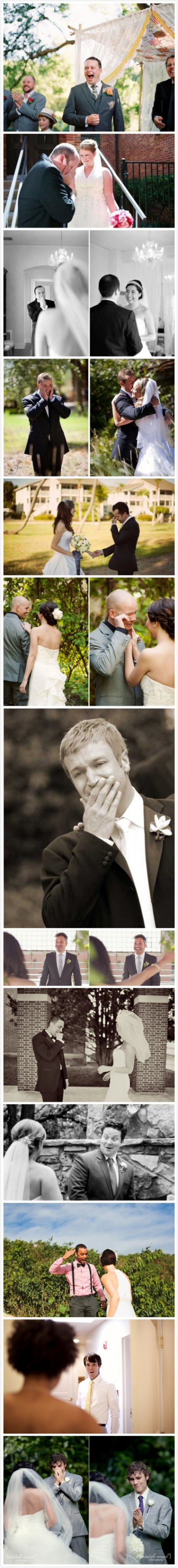Grooms' first reactions to the brides.