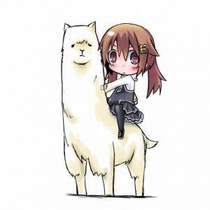 Cute anime girl riding grass mud horse.