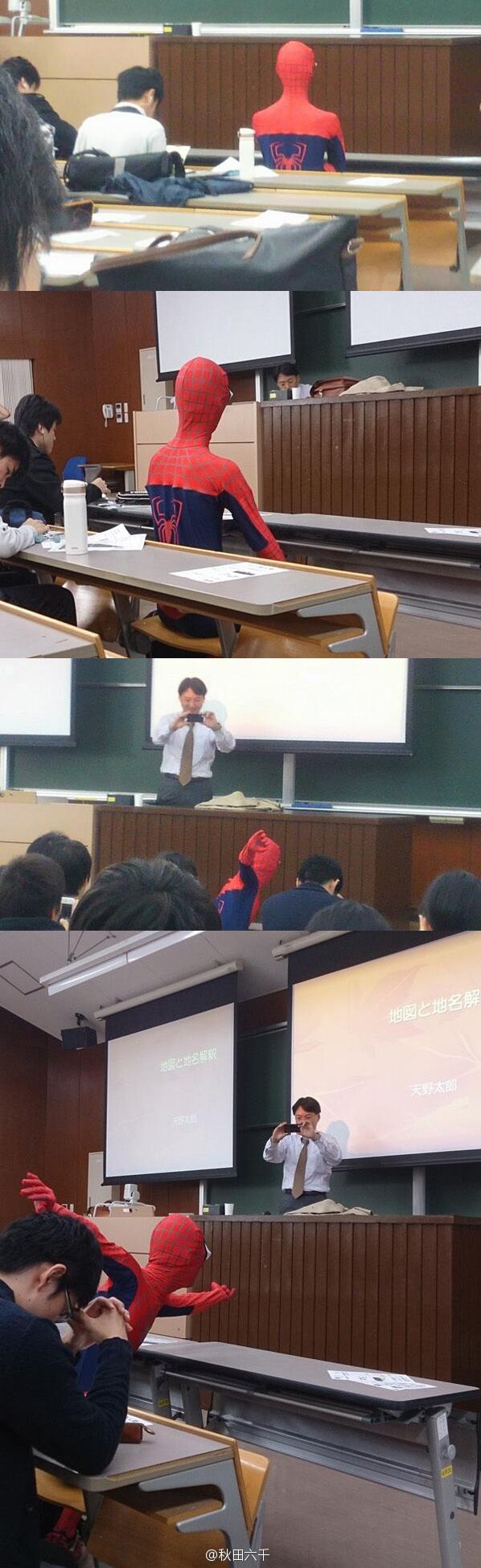 Chinese student attends class in Spider-Man costume for Halloween at Peking University.
