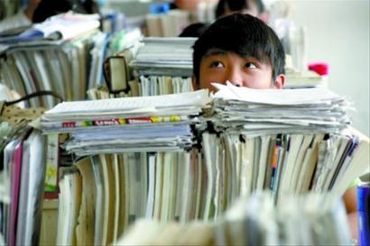 Chinese student cram studying for the annual university entrance exam.