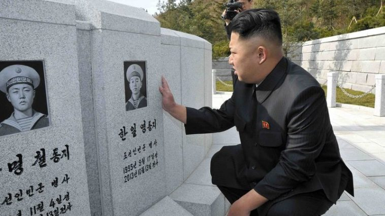 Kim Jong-un visits the graves/memorial for approximately 30 naval officers and seamen who perished during combat duties.