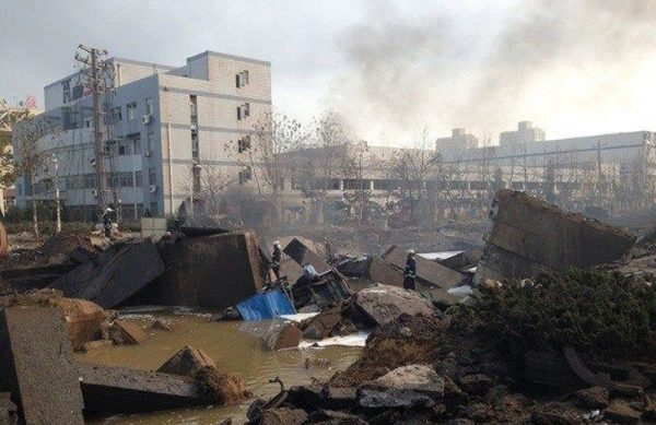 Photo of Qingdao oil pipeline explosion scene.