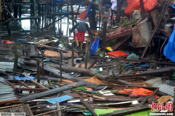 Palawan of the Philippines, a mess scene after the typhoon attack.