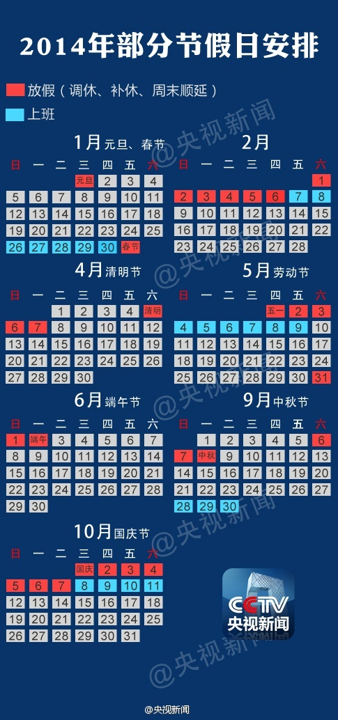 Official 2014 China Holiday Schedule showing which days are off and which weekends have been shifted.