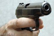 A hand holding a pistol gun.