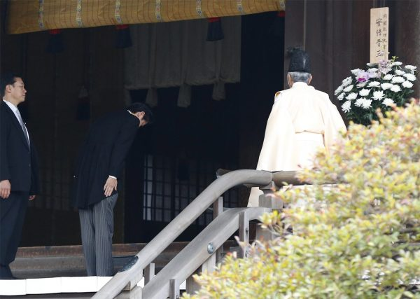 Japan Prime Minister Shinzo Abe visiting the controversial Yasukuni Shrine where WWII war criminals are buried, on 2013 December 26.