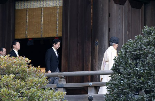 Japanese Prime Minister Shinzo Abe visiting the controversial Yasukuni Shrine where WWII war criminals are buried, on 2013 December 26.
