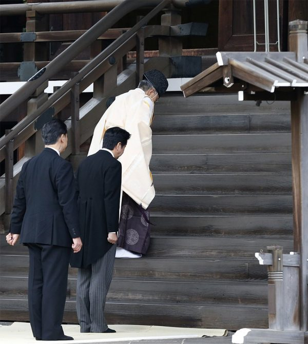 Japan Prime Minister Abe Shinzo visiting the controversial Yasukuni Shrine where WWII war criminals are buried, on 2013 December 26.