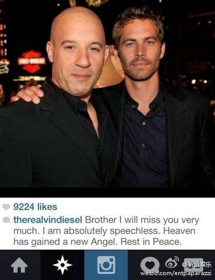 Vin Diesel message about Paul Walker's death.