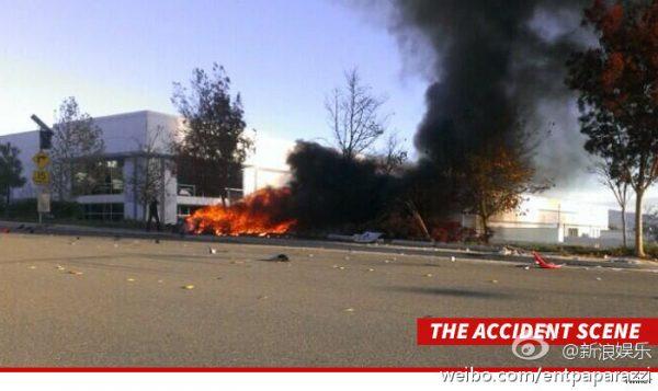Fire from crash involving Paul Walker in a Porsche Carrera GT.
