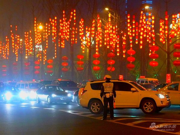 Car traffic on Chinese New Year's Eve.