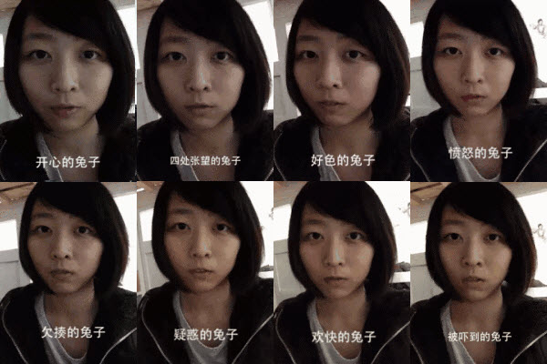 Asian girl imitates different emotions of a rabbit.
