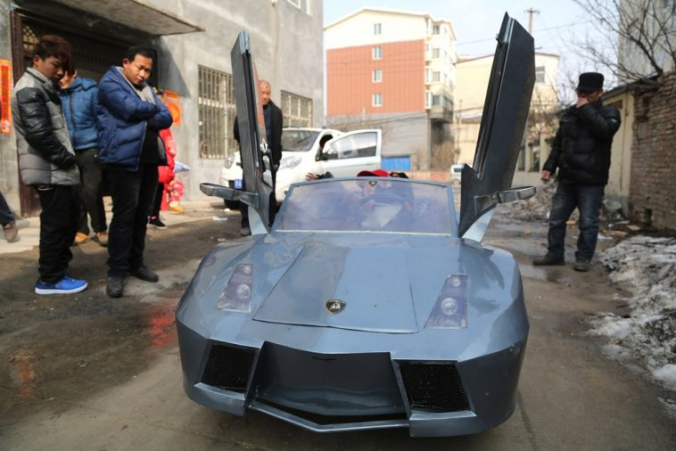 "Chinese grandfather's homemade ""Lamborghini"" electric car."