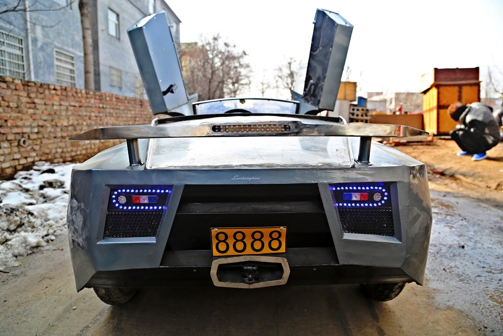 Chinese Man Builds Homemade Electric Lamborghini For Grandson