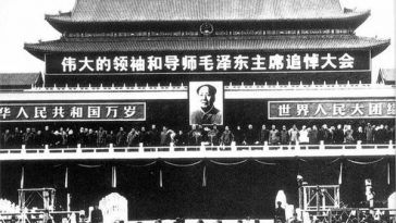 Mao Zedong's funeral held in Tiananmen Square.