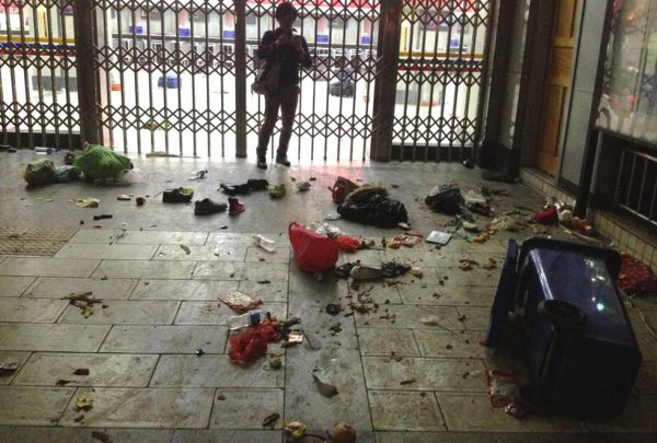 A scene of mess after the violent attack.