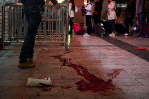 Bloodstain on the floor of Kunming Train Station.
