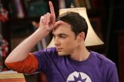Sheldon Cooper on The Big Bang Theory, loser sign on forehead.