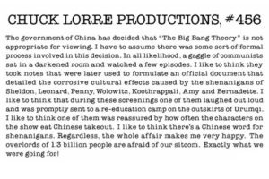 "Chuck Lorre responds to China's ""ban"" on the Big Bang Theory."
