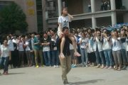 Chinese high school students celebrate the end of the gaokao college entrance examination.
