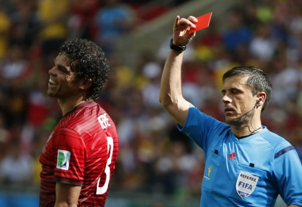 Pepe getting the red card.