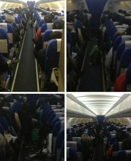 Photos of a Chinese child defecating (pooping) in the aisle of an airplane midflight.