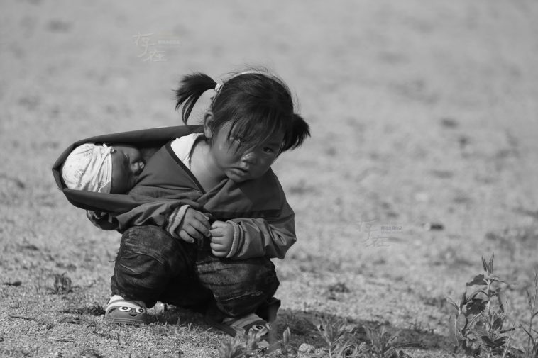 A 3-year-old girl carrying her 3-month-old baby sister on her back on the kelp drying fields in Jiaodong, China.