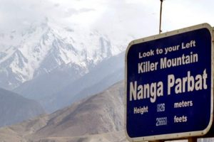 "Road sign for Nanga Parbat ""Killer Mountain"" in Pakistan."