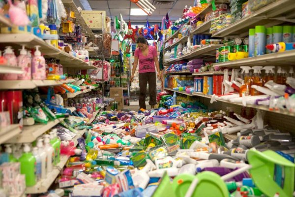 Products fallen on the ground from a supermarket's shelves after a 6.0 earthquake near San Francisco in Northern California with an epicenter in American Canyon.