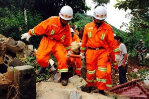 Rescue workers carrying bodies out of the rubble after the Yunnan Ludian 6.5 Earthquake.