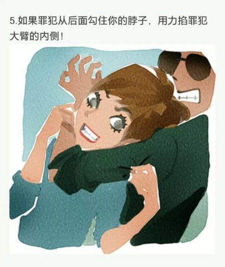 5. If a criminal wraps their arm around your neck from behind, pinch the inside of his upper arm with all your strength!
