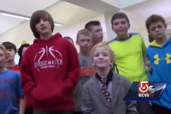First-grade boy protected by older students from bullying.