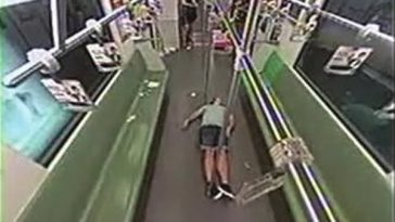 An unconscious foreigner in a Shanghai Line 2 subway car incited a panic.