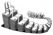 """A cartoon depicting people chasing money that climbs up to a """"public servant"""" (government employee) chair."""