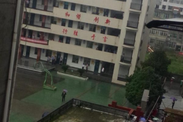 A man attacked children and teachers at a primary school in Hubei province of China before jumping off a building in suicide.