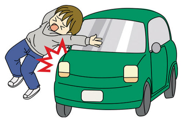 Cartoon graphic of a man being hit by a car.